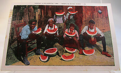 Color Picture Postcard Black Americana Men Eating Watermelon Down in sunny Dixie