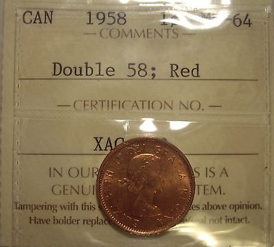 Canada Elizabeth II 1958 Doubled 58 Small Cent - ICCS MS-65 (XAG-302)