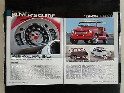 1956-1967 Fiat 600  - 6 Page Article - Free Shipping