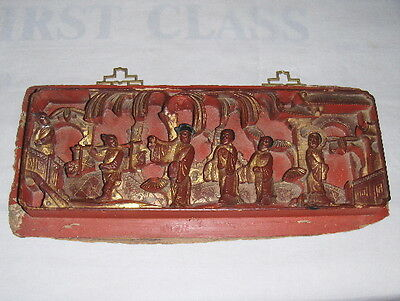 Antique Intricately Carved Wood Panel Chinese Old Art Wall Hanging Vintage Tile