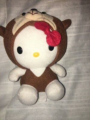 "RARE HELLO KITTY 5"" PLUSH IN BROWN Halloween Costume OUTFIT BY SANRIO"