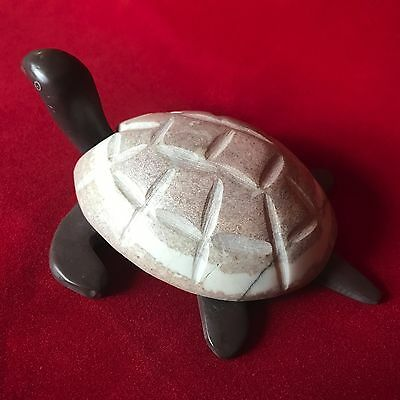 Carved Stone Sea Turtle Trinket Box Lidded Dish Tortoise 6 Inches