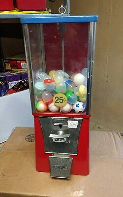 """B $.25 Route Used EAGLE 1"""" Toy Capsule Gumball Vending Machine w 75 capsules G14"""