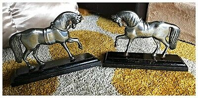 Antique Vintage Rare Large Pair Of Spelter Horse Doorstops On Wooden Plinths