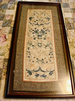 Vintage Chinese Silk Embroidery, Framed with Glass