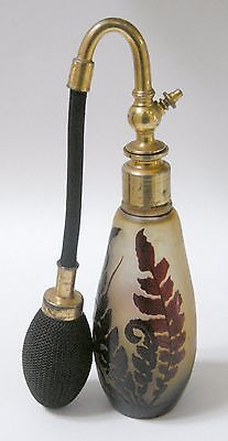 Antique French Signed Galle Cameo Glass Perfume Atomizer