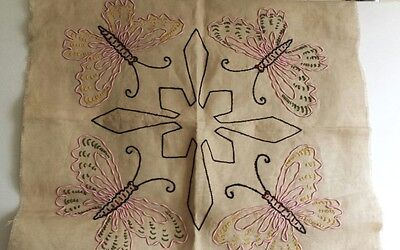 Vintage Embroidered Arts and Crafts Fabric Panel