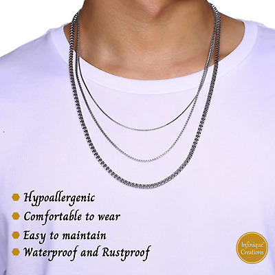 """White Gold Color Stainless Steel Box Chain Necklace Men Women 1mm to 4mm 7""""- 38"""""""