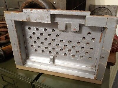 Antique Machine Age Industrial Wood Foundry Mold Pattern Steampunk Silver Paint