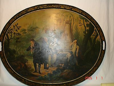 Large Antique Painted  Mourning/Memorial Tole Tray  Late 1700-Early 1800 29x23""