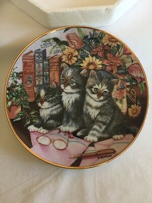 """Franklin Mint Fine Porcelain """"Kitty Literature """"  Collectible Plate"""