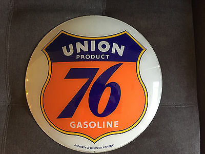 Original Old UNION 76 Product Gasoline Gas Pump Station Globe Oil Can Sign