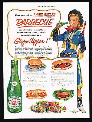 1954 Annie Oakley Cowgirl Barbecue Canada Dry Ginger Ale Color Vintage Print Ad