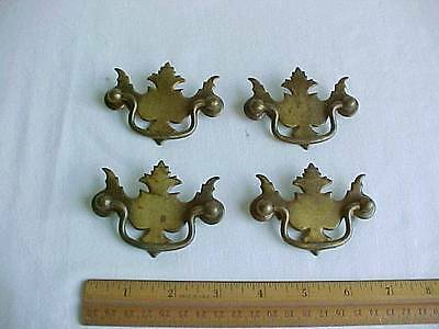 4 Metal Brass Toned Drawer Pulls with Handles