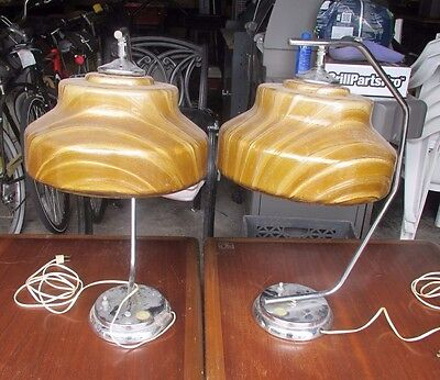 PAIR OF retro MID CENTURY MODERN FIBERGLASS & METAL LAMPS  local pick up only