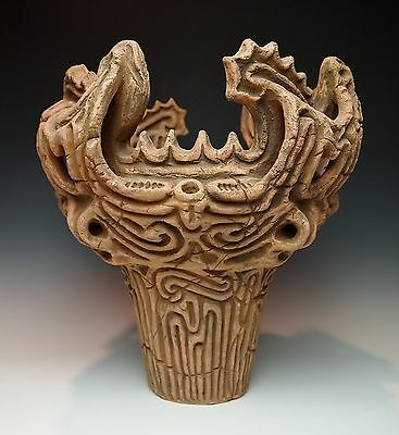 Antique Japanese Jomon Style Flame Pot Earthenware Fukabachi Archaistic Japan