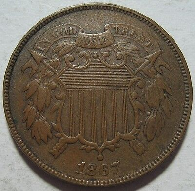 = 1867 XF Two Cent Piece, Nice Color & Details, FREE Shipping