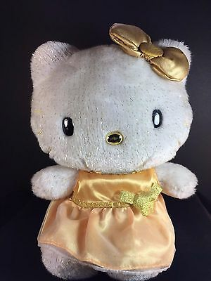 """HELLO KITTY 50th Anniversary by Sanrio - 11"""" Gold Dress & Bow Plush Cat Toy"""