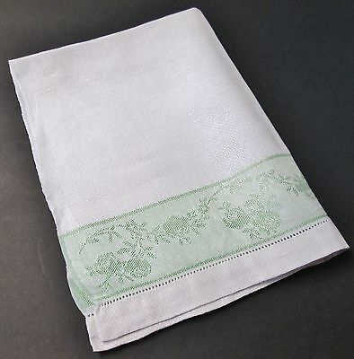 Antique White Linen Towel Green Band of Florals Hemstitched
