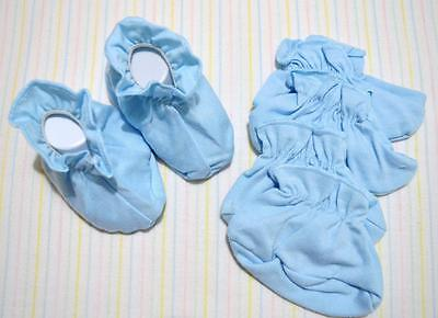 Lot/3  Blue Unisex 0-6M 100% Combed Cotton Infant Baby Booties~New