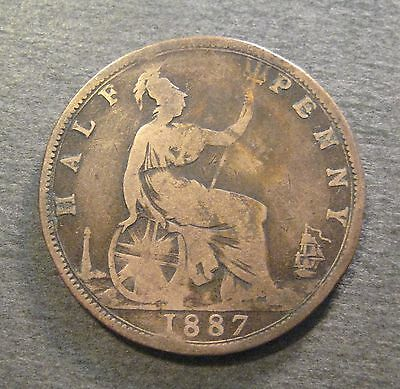 1887  Great Britain 1/2 Penny  - * No Reserve * - (S433)
