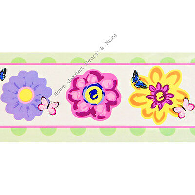Pink Yellow Purple Flower Butterfly Peel Stick Self Adhesive Wall Paper Border