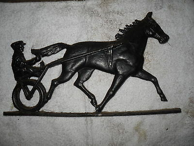 Weathervane Mailbox Topper Man Race Horse Sulky Antique Vintage track