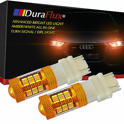 DuraFlux 3157 4157NA LED Switchback Turn Signal DRL Light Yellow/White Projector