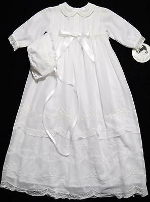 "Sarah Louise 3M Girls 30"" Embroidered White Voile Christening Gown W/bonnet~Nwt"