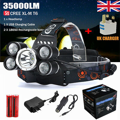 35000LM 5X CRE T6 LED Headlamp USB Rechargeable 18650 Headlight Head Torch Light