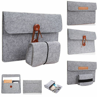 """Wool Felt Sleeve Case + Charger Bag Pouch Cover for 10''11''12''13""""15"""" Macbook"""