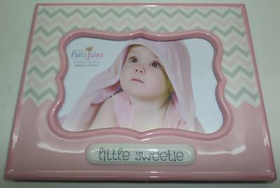 "Demdaco Nat and Jules Little Sweetie Baby Picture Frame, Pink 4"" x 6"""