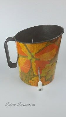 RETRO Rotary Flour Sifter - Orange Floral Pattern - Kitchenalia