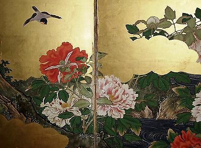 EXQUISITE ANTIQUE JAPANESE FOLDING SCREEN Kano Ryosho 1768 - 1846 Edo Period