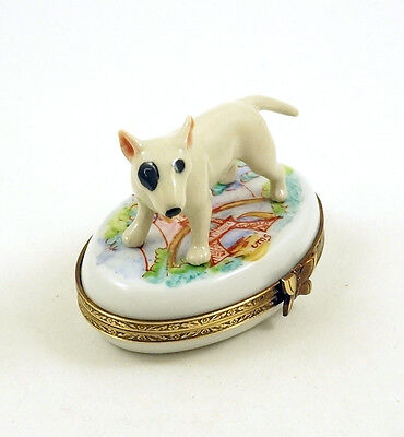 NEW HAND PAINTED FRENCH LIMOGES TRINKET BOX BULL TERRIER DOG PUPPY in PARIS