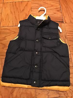 Baby Gap Winter Vest 4t Navy Blue With Yellow Accent