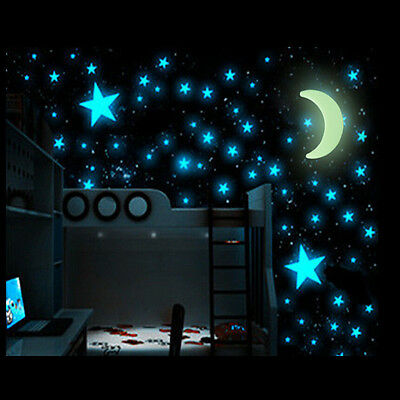 100 Glow Star and 1 Moon In The Dark Stars Plastic Stickers Ceiling Wall Bedroom