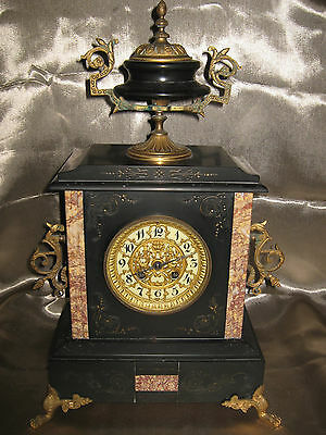 Antique & RARE French ca. 1880s large AD. MOUGIN Marble Clock