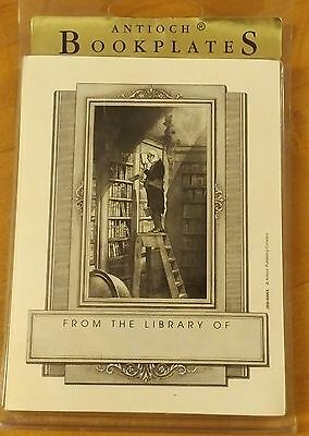 Antioch Bookplates From The Library Of Man On Ladder Set Of 15, Nib