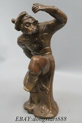 "12"" Chinese XiYouJi Figure Bronze Handsome Monkey King Sun WuKong Buddha Statue"