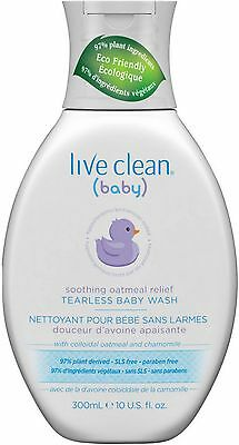 Live Clean Baby Soothing Oatmeal Relief Tearless Baby Wash 10 oz