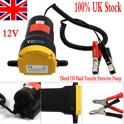 12V Diesel Oil Fluid Transfer Extractor Pump Electric Suction Car Moto Free Post