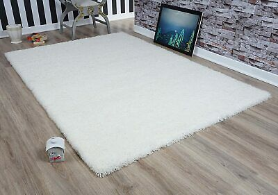 Fluffy Cream Ivory Soft Shaggy Non Shed Pile Plain Rug Thick Floor Carpet New