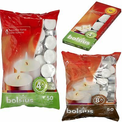 Bolsius Tealight Tea T Light Small Candle Wax Unscented Pack 4 8 Hour Burn White