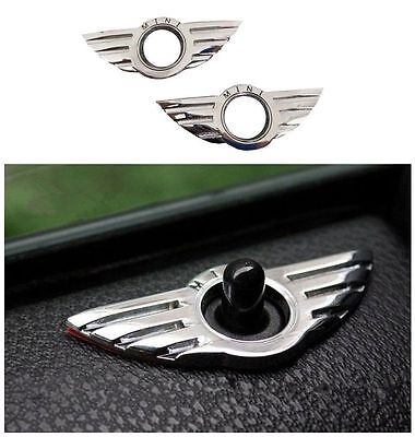 2 pcs For MINI Cooper Chrome door pin lock wing JCW badge 3D Emblem R50 R53 R56