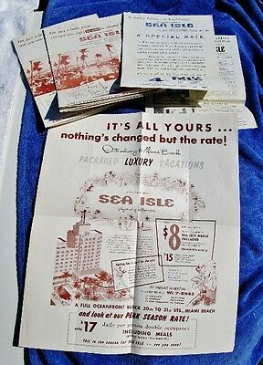 1955 Sea Isle Hotel, Collins Ave, Miami Beach, FL: Vintage Guest Papers, PALMS