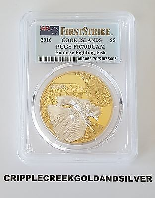 2016 $5 Cook Islands Siamese Fighting Fish Silver Coin PCGS PR70DCAM FS