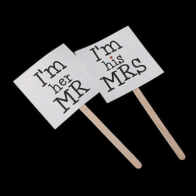 Mr and Mrs Photo Booth Signs Wedding Photographs Props Easy to Apply