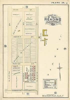 BERKS COUNTY COPY PLAT ATLAS MAP PA 1884 SPRUCE ST PUBLIC SCHOOL READING