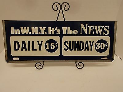 "Vintage Metal Sign Advertising for the Buffalo News Newspaper~17¼"" X 6½"""